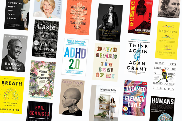 Collage of new and hot adult non-fiction book covers