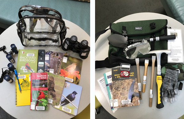 Photo collage of two photos. The photo on the left shows the contents of the bird watching kit laid out on a table top. The photo on the right shows the contents of the rock hunting kit laid out on a tabletop.