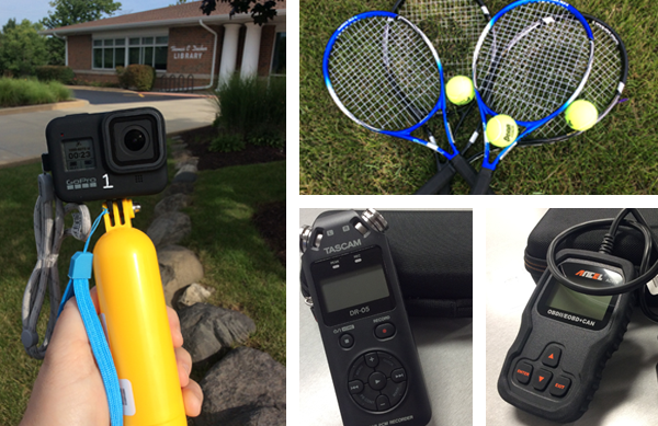 Four photo collage of a GoPro 8, tennis rackets and balls, digital sound recorder, and auto diagnostic tool.